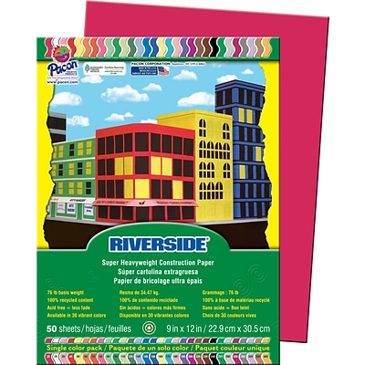 Pacon® Riverside® 103590 GroundWood Construction Paper, Red, 9(W) x 12(L), 50 Sheets