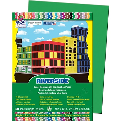 Riverside® Construction Paper, Green, 9x12, 50 Sheets