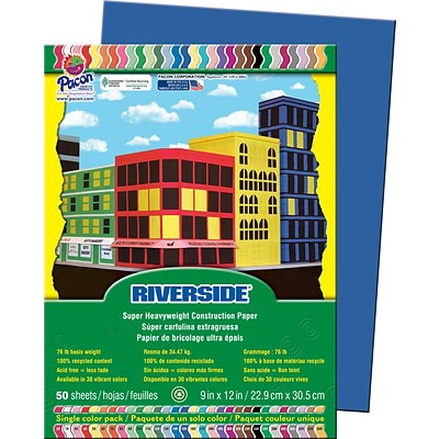 Pacon Riverside Construction Paper 12 x 9, Dark Blue, 50 Sheets (103601)