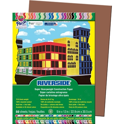 Riverside® Construction Paper, 9 x 12, Brown, 50 Sheets
