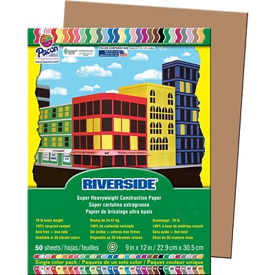 Riverside® Groundwood Construction Paper, 9 x 12, Light Brown, 50 Sheets