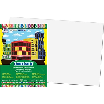 Riverside® Construction Paper, White, 12x18, 50 Sheets