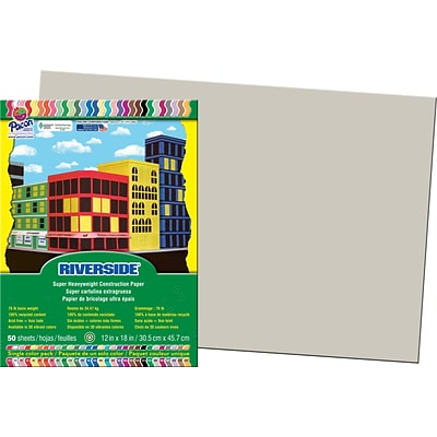 Riverside® Groundwood Construction Paper, 12 x 18, Gray, 25 Sheets
