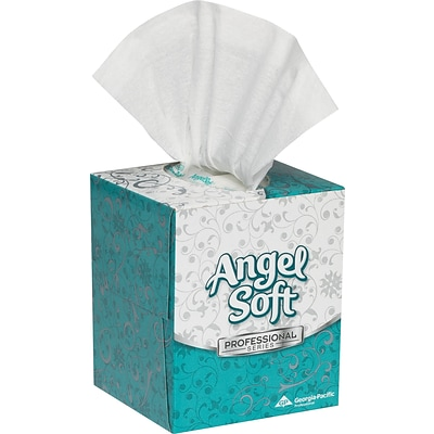 Angel Soft Professional Series™, White Premium Facial Tissue, Cube Box, 96 Sheets/Box, 36 Boxes/Case, (48580)