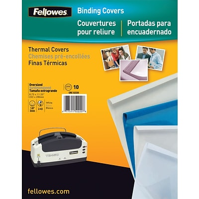 Fellowes® Thermal Binding Presentation Covers, Letter, 1/4, White, 60 Sheets, 10/Pack
