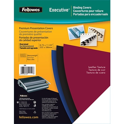 Fellowes® Oversized Presentation Binding Covers, Un-Punched, Black, 50/Pack
