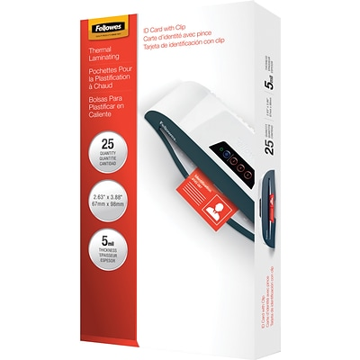 Fellowes® Laminating Pouches, 5mm, 2-5/8x3-7/8, Punched with Clip. 25 Pack