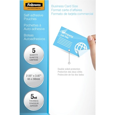 Fellowes® Laminating Pouches, 5mm, 2-3/8x3-7/8, 5 Pack