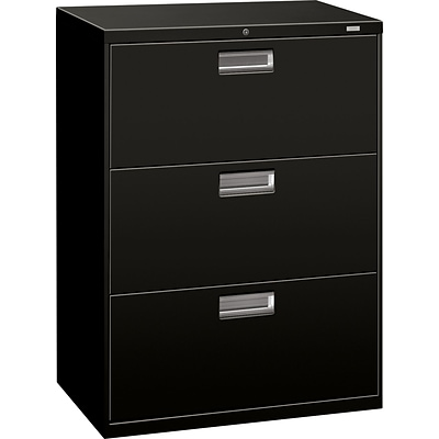 HON Brigade 600 Series Lateral File Cabinet, A4/Legal/Letter, 3-Drawer, Black, 19 1/4D (673LP)