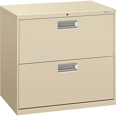 HON® Brigade® 600 Series Lateral, 2-Drawer, Putty, 19.25D