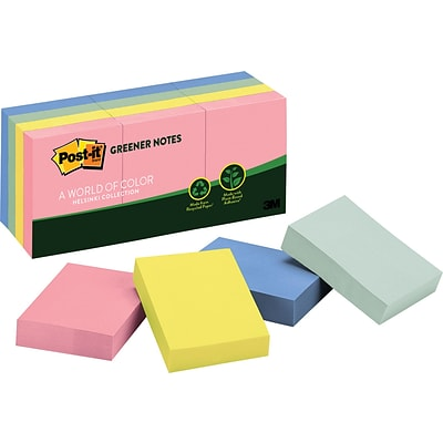 Post-it® 1-1/2 x 2 Recycled Sunwashed Pier Notes, 12 Pads/Pack