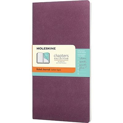 Moleskine Slim-Medium Soft-Cover Ruled Chapters Journal 3-3/4 x 7 Plum Purple (401840)