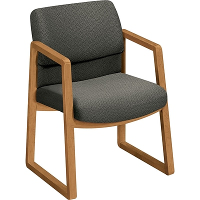 HON® 2400 Series Fabric Guest Chairs; Harvest Oak Finish, Grey Fabric
