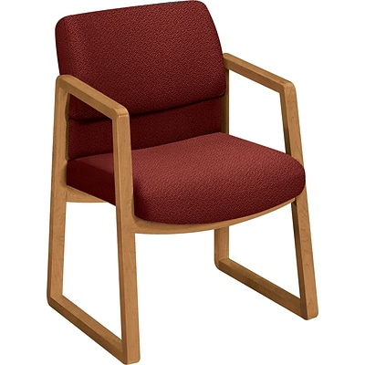 HON® 2400 Series Fabric Guest Chairs; Harvest Oak Finish, Burgundy Fabric