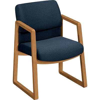 HON® 2400 Series Fabric Guest Chairs; Harvest Oak Finish, Blue Fabric