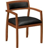 basyx by HON VL852 Wood Guest Chair, SofThread™ Leather, Black/Bourbon Cherry, Seat: 20W x 17D, Ba