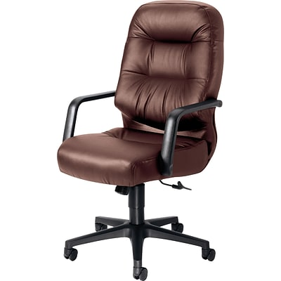 HON Pillow-Soft 2090 Executive/Office Chair, Leather, Burgundy, Seat: 22W x 18 1/2D, Back: 22W x 25H