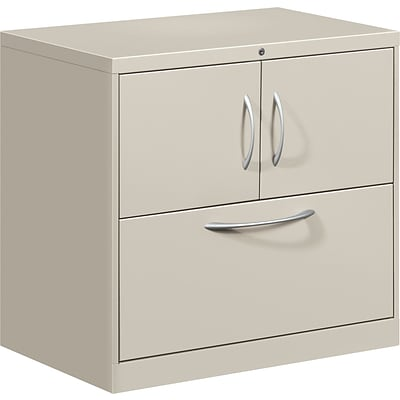 Hon® Flagship® 1-Drawer Lateral File Center w/Storage Cabinet; Light Gray, Lttr/Legal (FC1830DLFALQ)