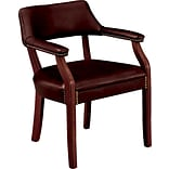 HON® Traditional Wood Seating 6550 Glove-Soft Vinyl Guest Arm Chair, Oxblood