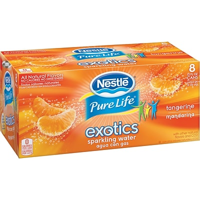 Nestle® Pure Life Exotics Sparkling Water, Tangerine, 12-oz Can, 8/Pack, 3 Packs/Carton
