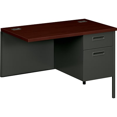 HON® Metro Classic Series Metal Office Suite in Mahogany/Charcoal Finish; Right Return