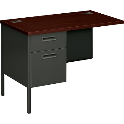 HON® Metro Classic Series Metal Office Suite in Mahogany/Charcoal Finish; Left Return