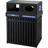 Commercial Zone® ArchTec Series Parkview 2 Double Steel Recycling and Trash Center; 50 Gal, Black, 3
