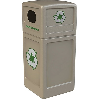 Commercial Zone® Green Zone Recycle42 Dome Lid Recycling Bin, 42 Gal, Beige, 40 3/4 x 18 1/2 x 18 1/2