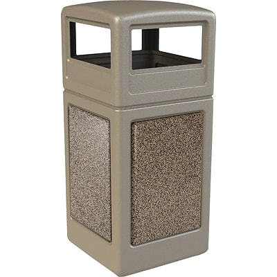 Commercial Zone® StoneTec Trash Can, 42 Gallons, Beige/Riverstone Panels, 41 3/4 x 18 1/2 x 18 1/2