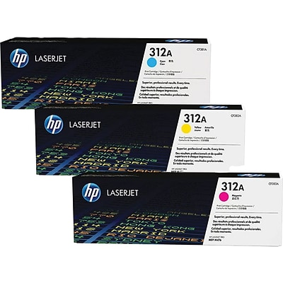 HP 312A (CF381AM) Cyan/Magenta/Yellow Original LaserJet Toner, Multi-pack (3 cart per pack)