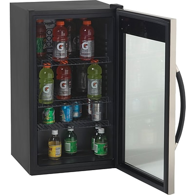 Avanti® 3.1 Cubic Foot Glass Door Beverage Center, Black/Stainless Steel, 33 3/4H x 18 3/4W x 19 1/2D