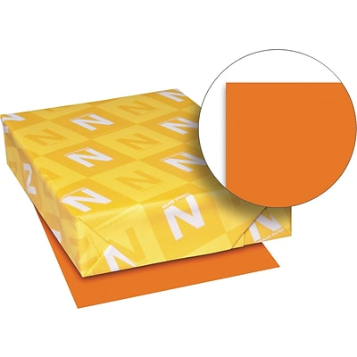 Exact Brights Paper, 8 1/2 x 11, Bright Tangerine, 50 Lb., 500 Sheets/ream