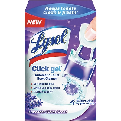 Lysol® Click Gel™ Toilet Bowl Cleaner, Lavender Fields Scent, 4/Box (1920092919)