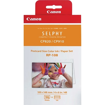 Canon RP-108 High-Capacity Color Ink/Paper Set, 4 x 6, 108 sheets