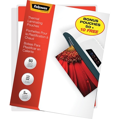 Fellowes 5 mil Laminating Pouches Letter Size 60 Bonus Pack (50+10 Free)
