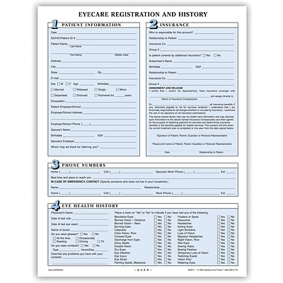 Medical Arts Press® Eye Care Registration Form, Numbered Sections