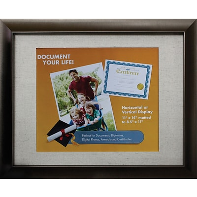 Victory Light 11 x 14 Bronze Document Frame with Linen Mat VS2982I.114