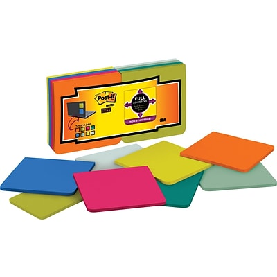 Post-it® Super Sticky Full Adhesive Notes, 3 x 3, Assorted Bright, 25 Sheets/Pad, 16 Pads/Pack (F330-16SSMX)