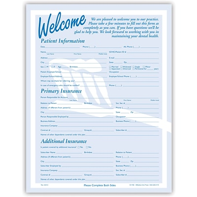 Medical Arts Press® Registration Forms without Updates Section ; Brush Silhouette