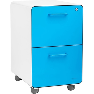 Stow 2-Drawer File Cabinet w/Casters, White + Pool Blue