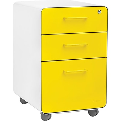 Stow 3-Drawer File Cabinet wCasters, White + Yellow