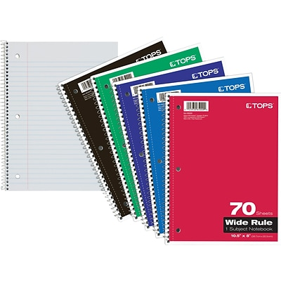 Tops® Spiral-Bound Notebooks, 8x10-1/2, Perforated, Wide Ruling, White, Punched, 70 Sheets/Pad