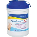 Sani-Hands® Antimicrobial Alcohol Gel Hand Wipes, 220 Sheets/Canister, 6 Canisters/Pack