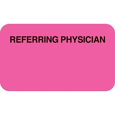 Insurance Chart File Medical Labels, Referring Physician, Fluorescent Pink, 7/8x1-1/2, 500 Labels