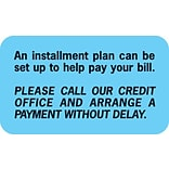Reminder & Thank You Collection Labels, Installment Plan, Light Blue, 7/8x1-1/2, 500 Labels
