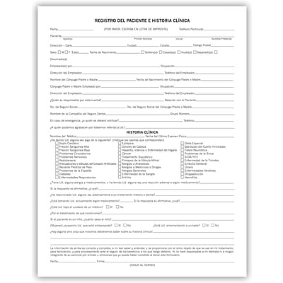 Medical Arts Press® Dental Registration and Medical History Form, Spanish