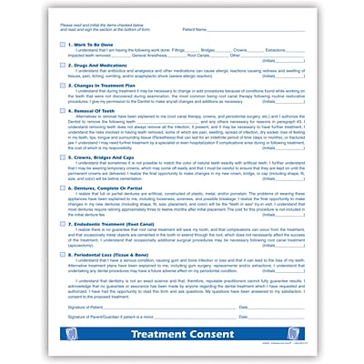 Medical Arts Press Dental Treatment Consent Form Sided  QuillCom