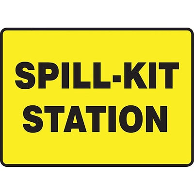 Accuform Signs® SPILL-KIT STATION Aluminum Safety Sign, 10 x 14