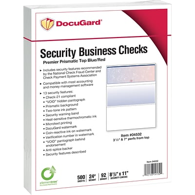 Paris DocuGard® 8 1/2 x 11 24 lbs. Standard Security Business Top Check Paper, Blue/Red, 2500/Case