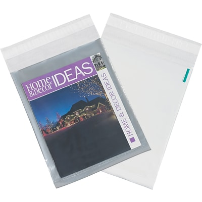 Partners Brand Clear View Poly Mailers, 10 x 13, Clear/White, 100/Case (CV1013100PK)